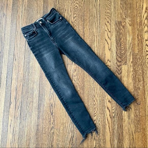 Zara Highrise Black Distressed Skinny Jeans